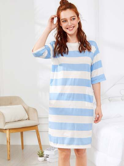 Split Side Striped Dress