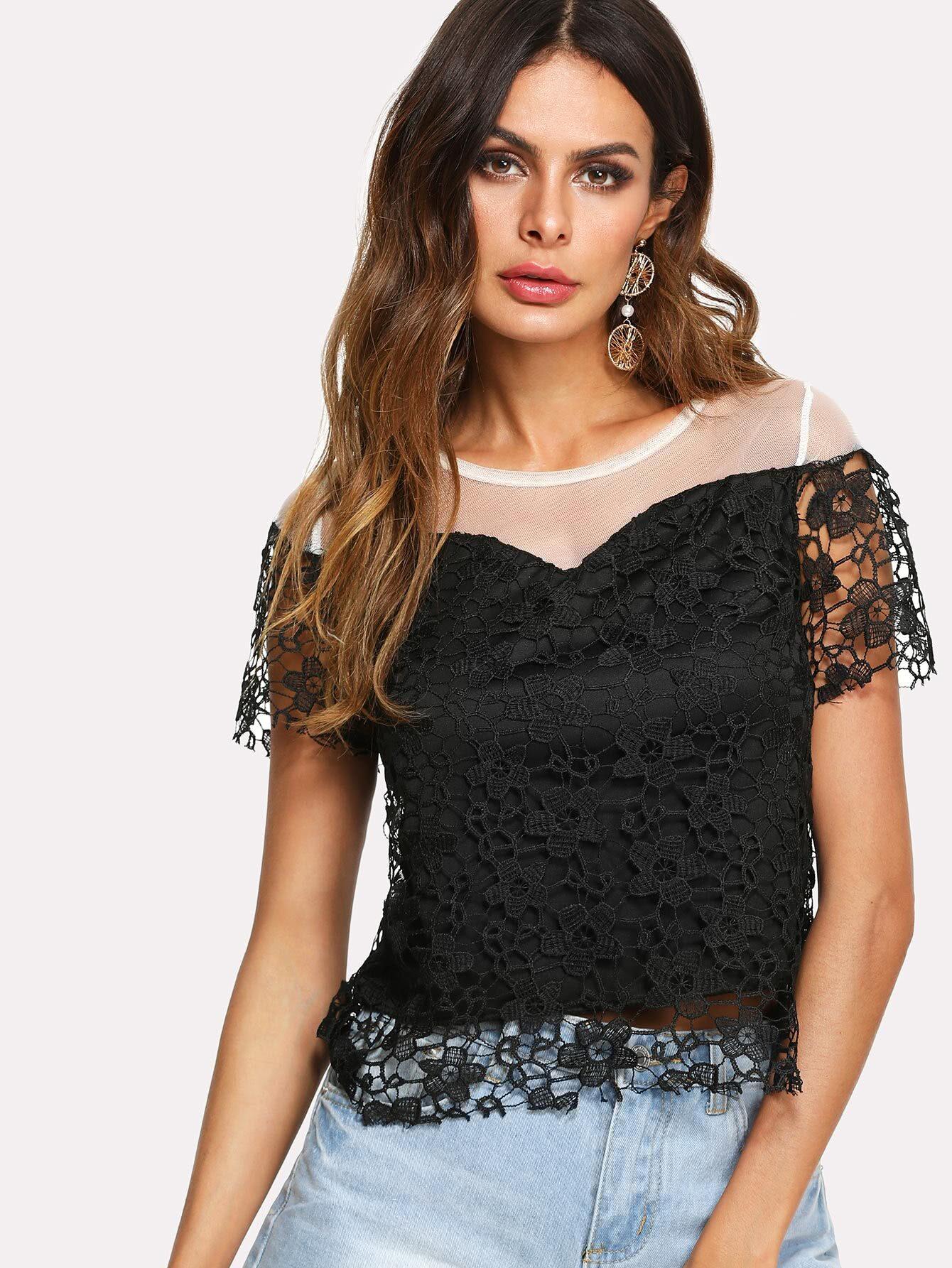 Mesh Contrast Lace Top mesh contrast lace top