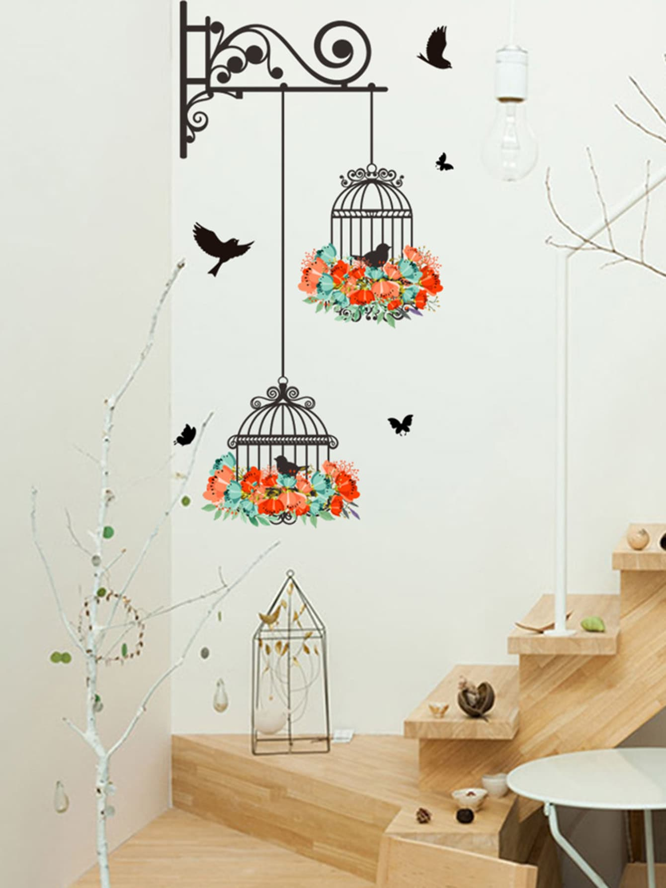 Купить Butterfly & Cage Corner Wall Decal, null, SheIn