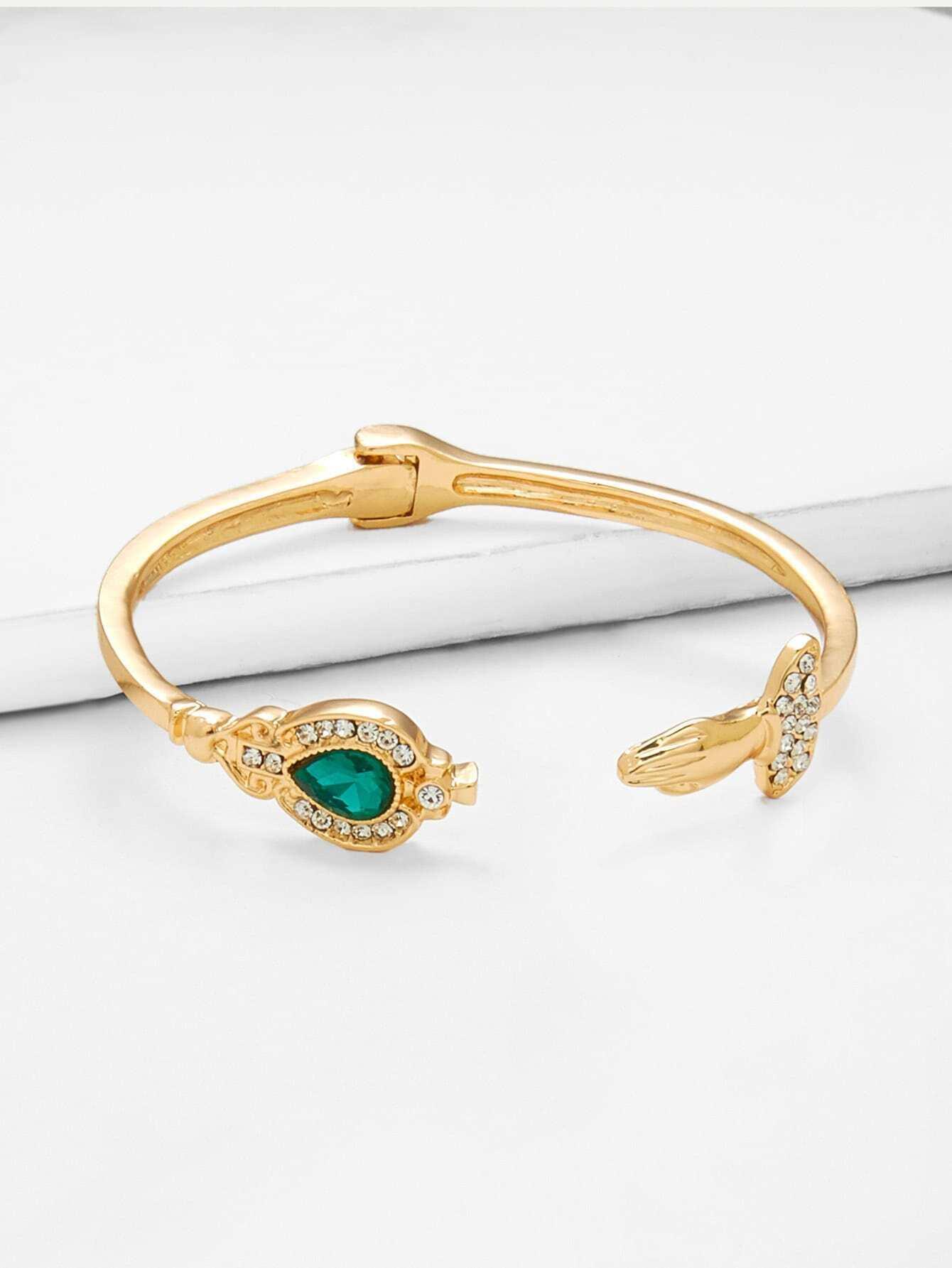 Rhinestone Detail Cuff Bracelet faux pearl detail layered cuff bracelet