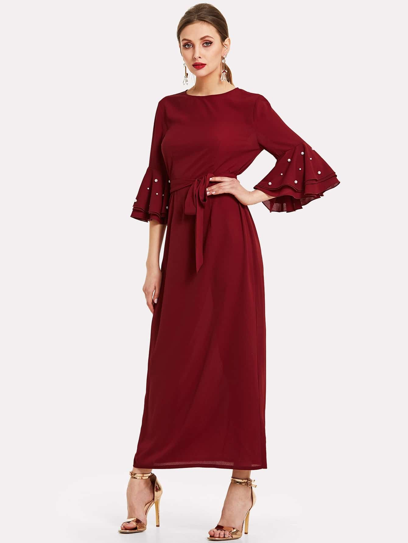 Pearl Beading Layered Ruffle Hijab Evening Dress pearl beading layered fringe detail dress