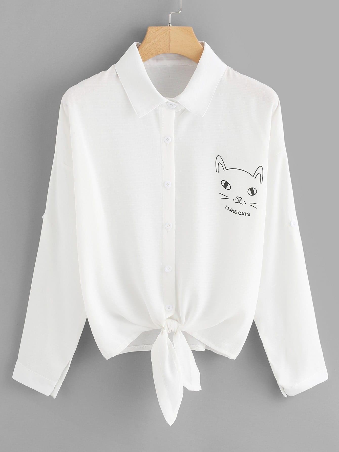 Cartoon Print Knotted Shirt blouse180305101