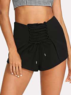 Lace Up Front Zip Back Shorts