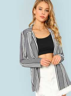 Striped Open Front Blazer BLACK WHITE