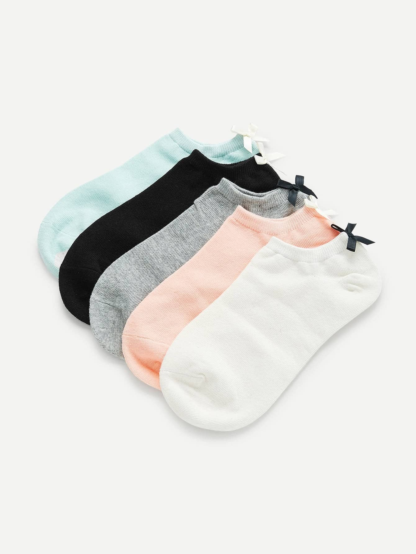 Bow Detail Ankle Socks 5Pairs женские чулки 1 5pairs