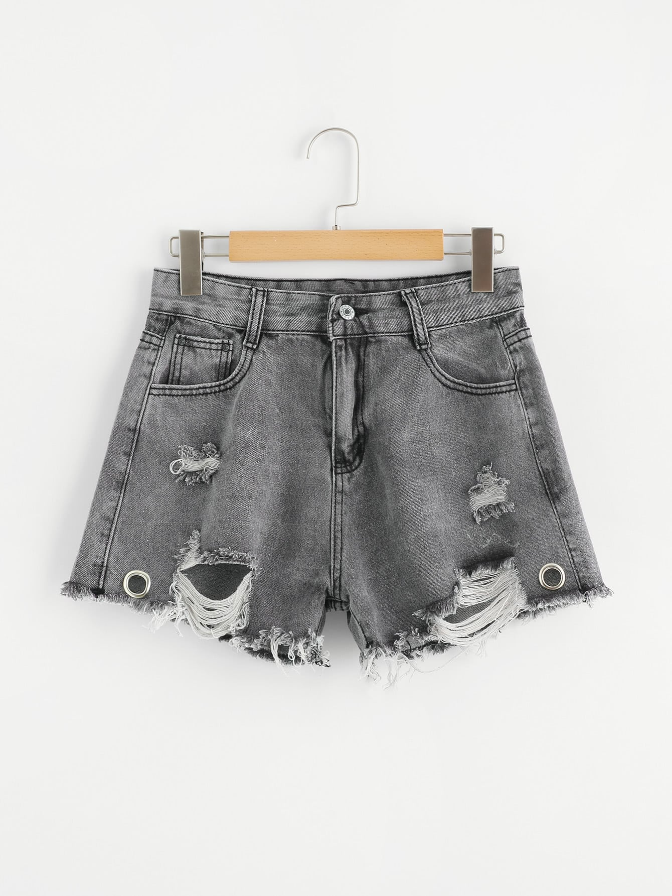 Raw Hem Denim Shorts raw hem ripeed denim shorts