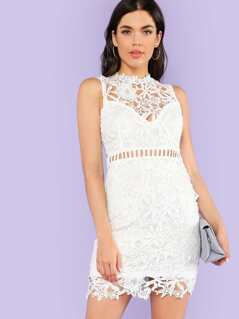 Crochet Lace Overlay Bodycon Dress OFF WHITE