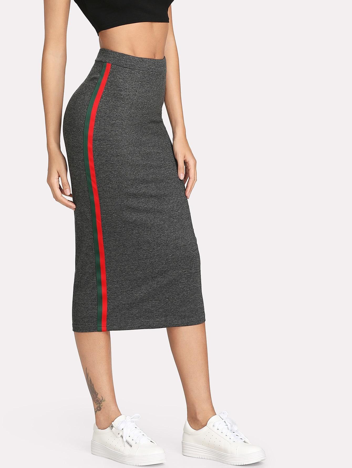 Striped Tape Side Skirt multi striped skirt