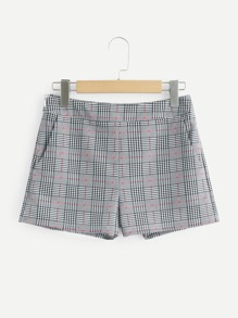 Pocket Side Plaid Shorts