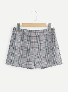 Pocket Side Plaid Shorts