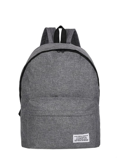 Solid Color Slogan Detail Backpacks Bag