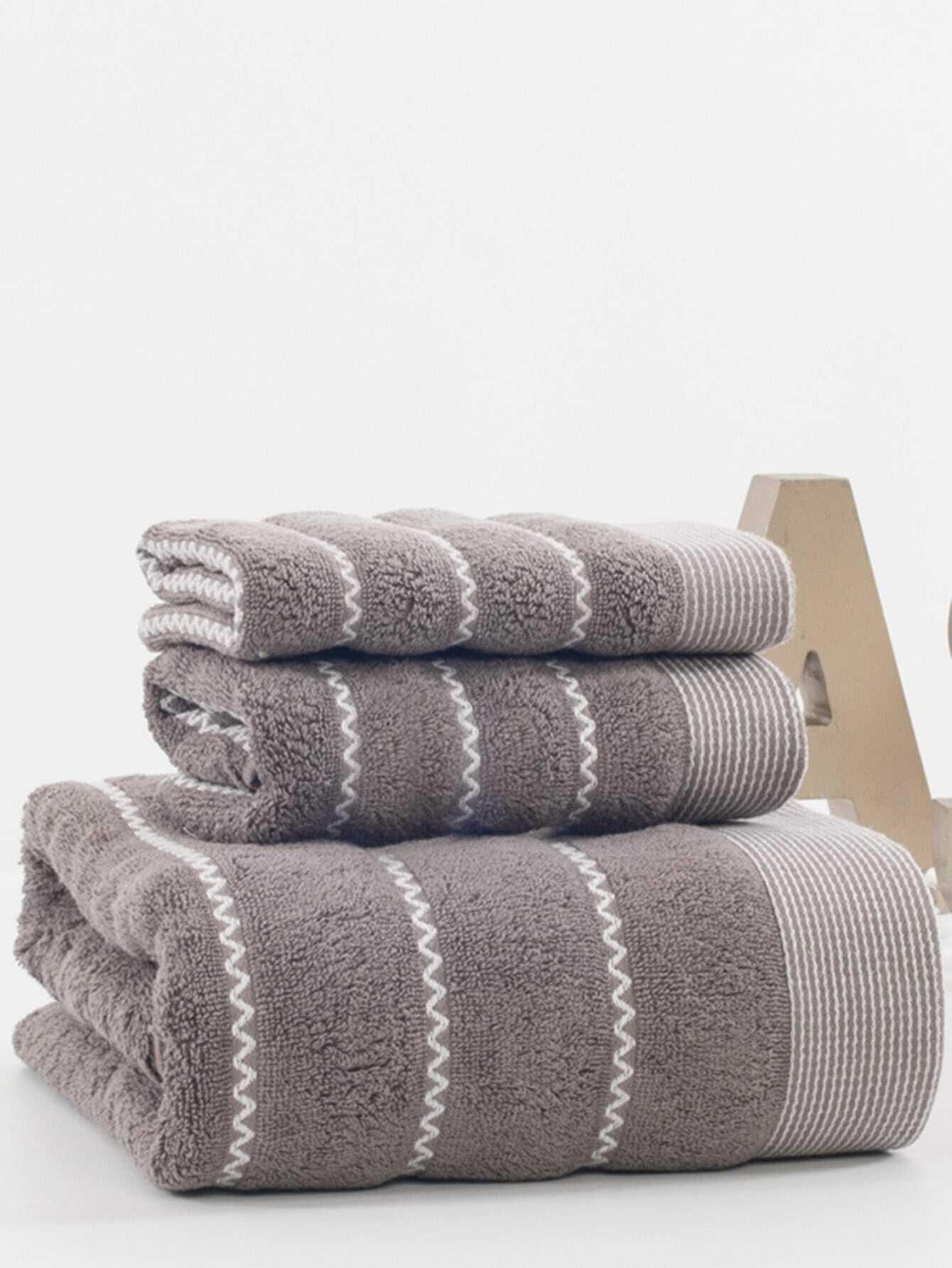 Zigzag Cotton Bath Towel Set 3pcs