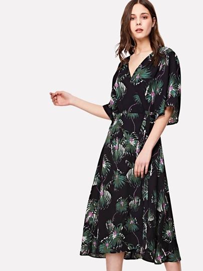 Botanical Print Kimono Sleeve Wrap Dress