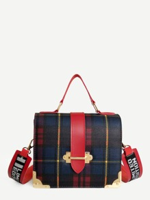 Metal Design Plaid PU Shoulder Bag