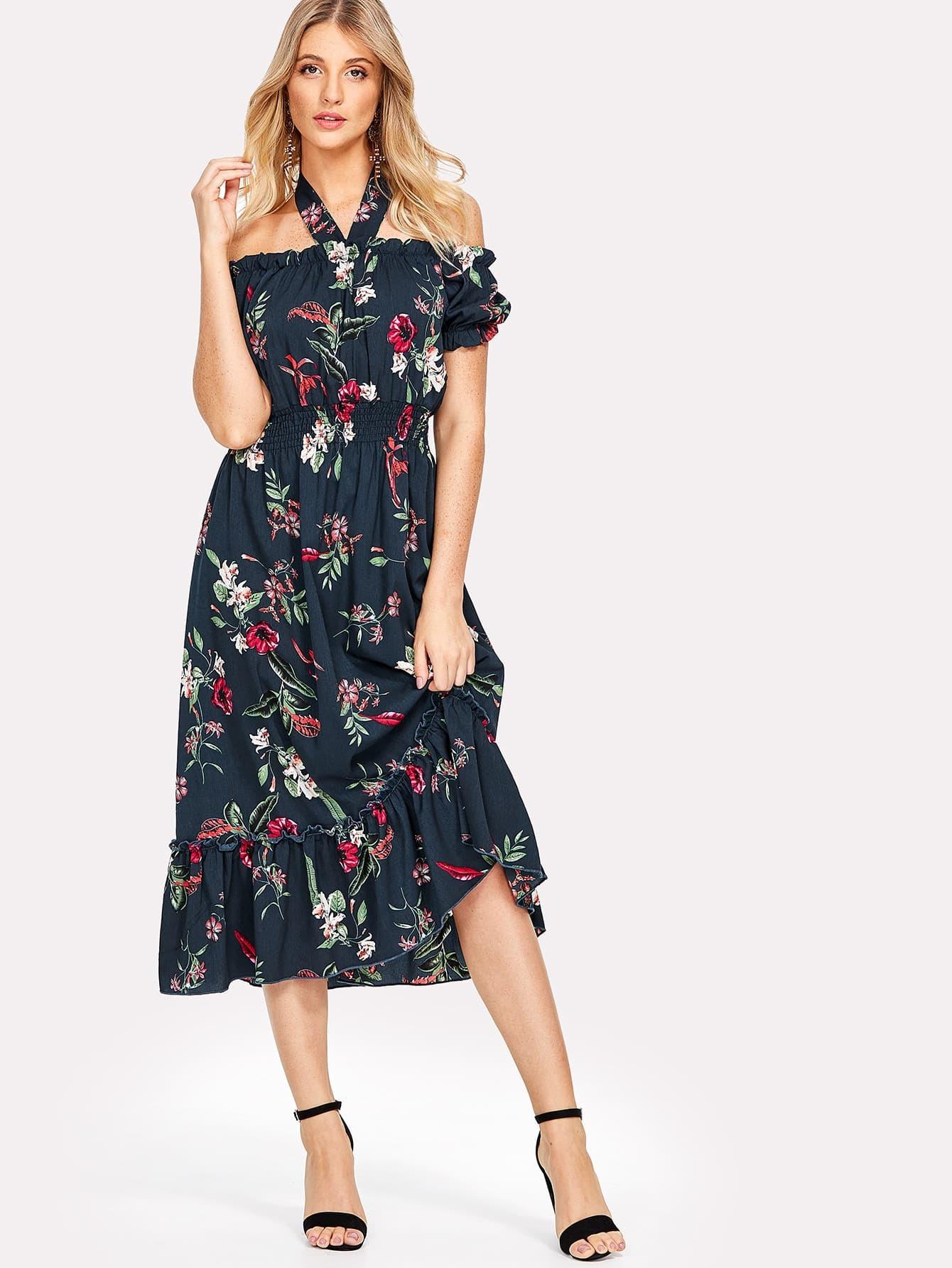 Halter Neck Shirred Waist Floral Dress shirred waist zip back fit