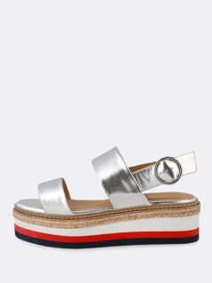 Espadrille Trim and Striped Platform Sling Back Wedge Sandal SILVER