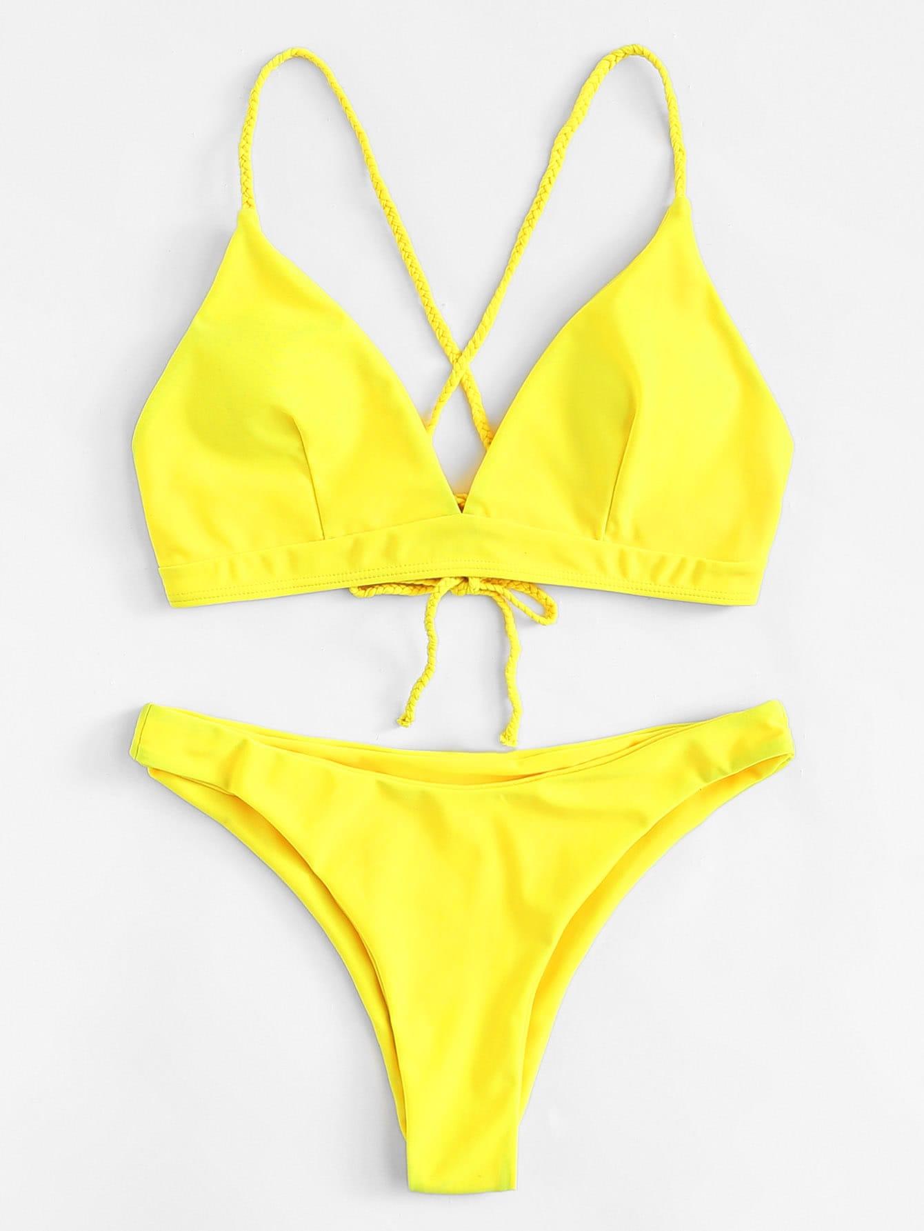 Braided Strap Lace Up Bikini Set все цены