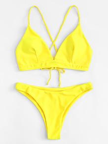 Braided Strap Lace Up Bikini Set