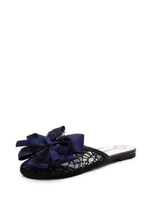 Bow Decor Mesh Flat Slippers
