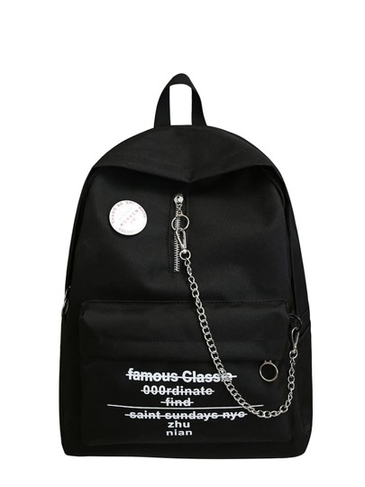Chain Decor Letter Print Backpacks Bag