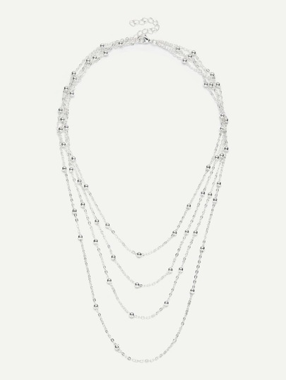 Beaded Design Layered Chain Necklace