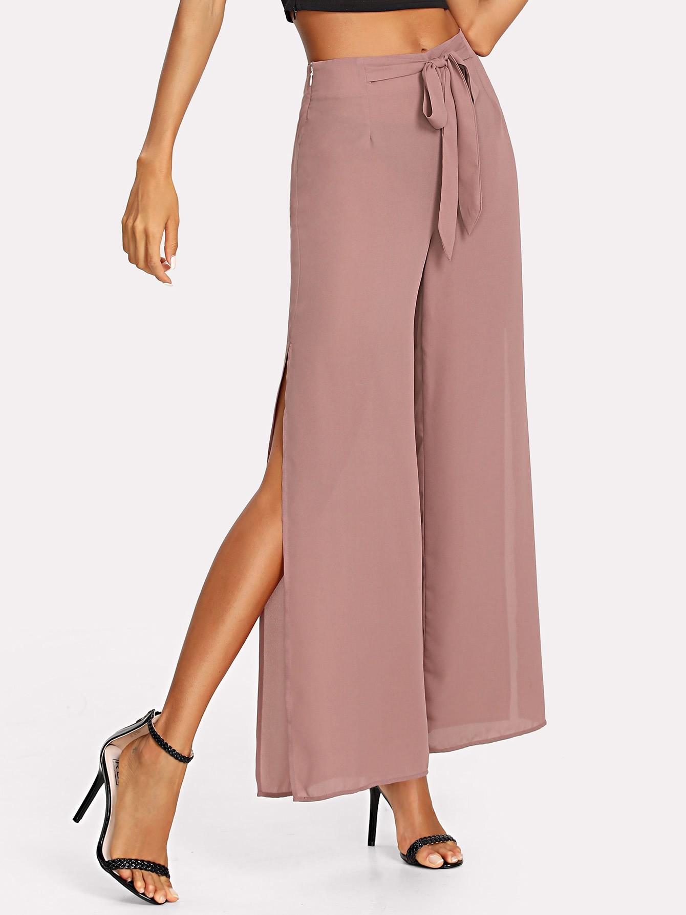 Купить Модные широкие брюки с вырезом и поясом, Andy, SheIn