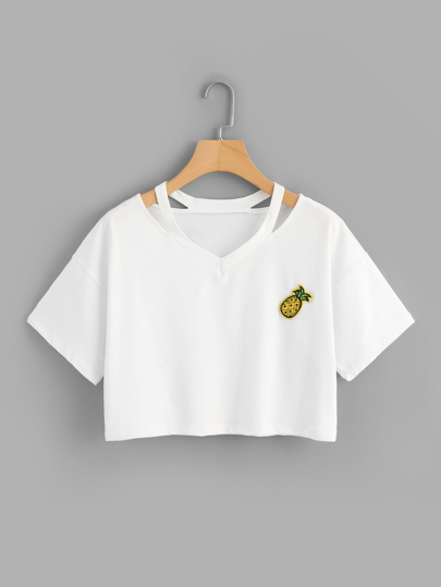 Pineapple Patch Rip Neck Crop Tee