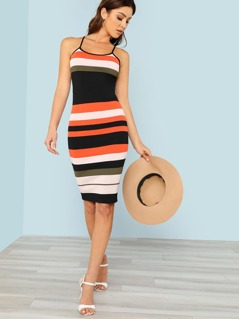 Striped Ribbed Knit Form Fitting Dress with Cross Back Straps ORANGE MULTI