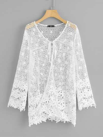 Knot Front Floral Eyelet Lace Kimono