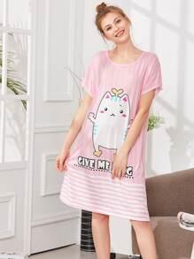 Contrast Striped Cat Print Dress