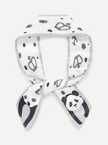 Panda & Crown Print Skinny Scarf