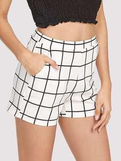 Elastic Waist Grid Shorts