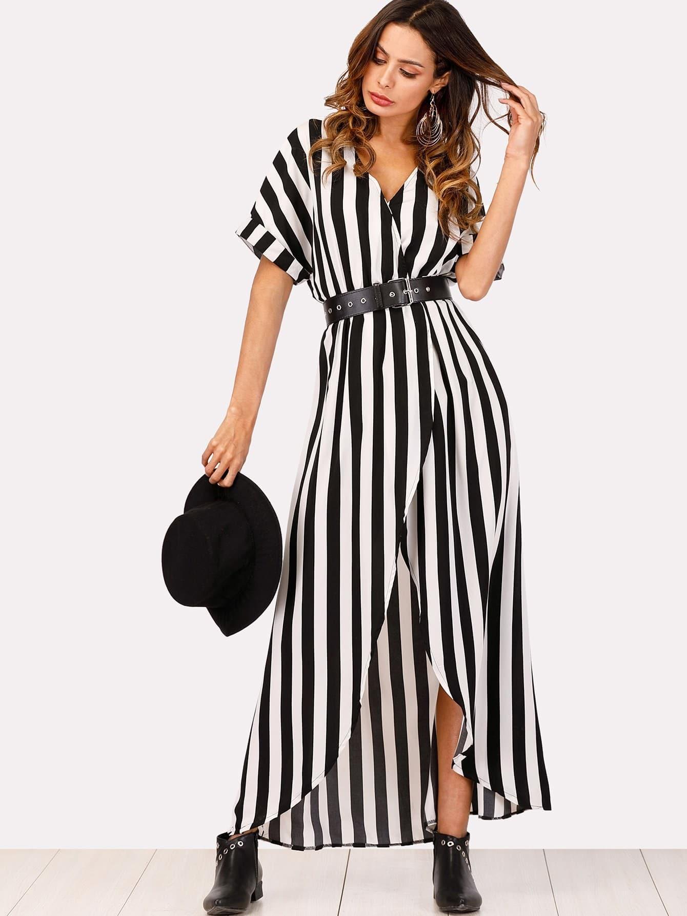 Self Tie Waist Striped Split Front Dress striped ruffled waist self tie pants