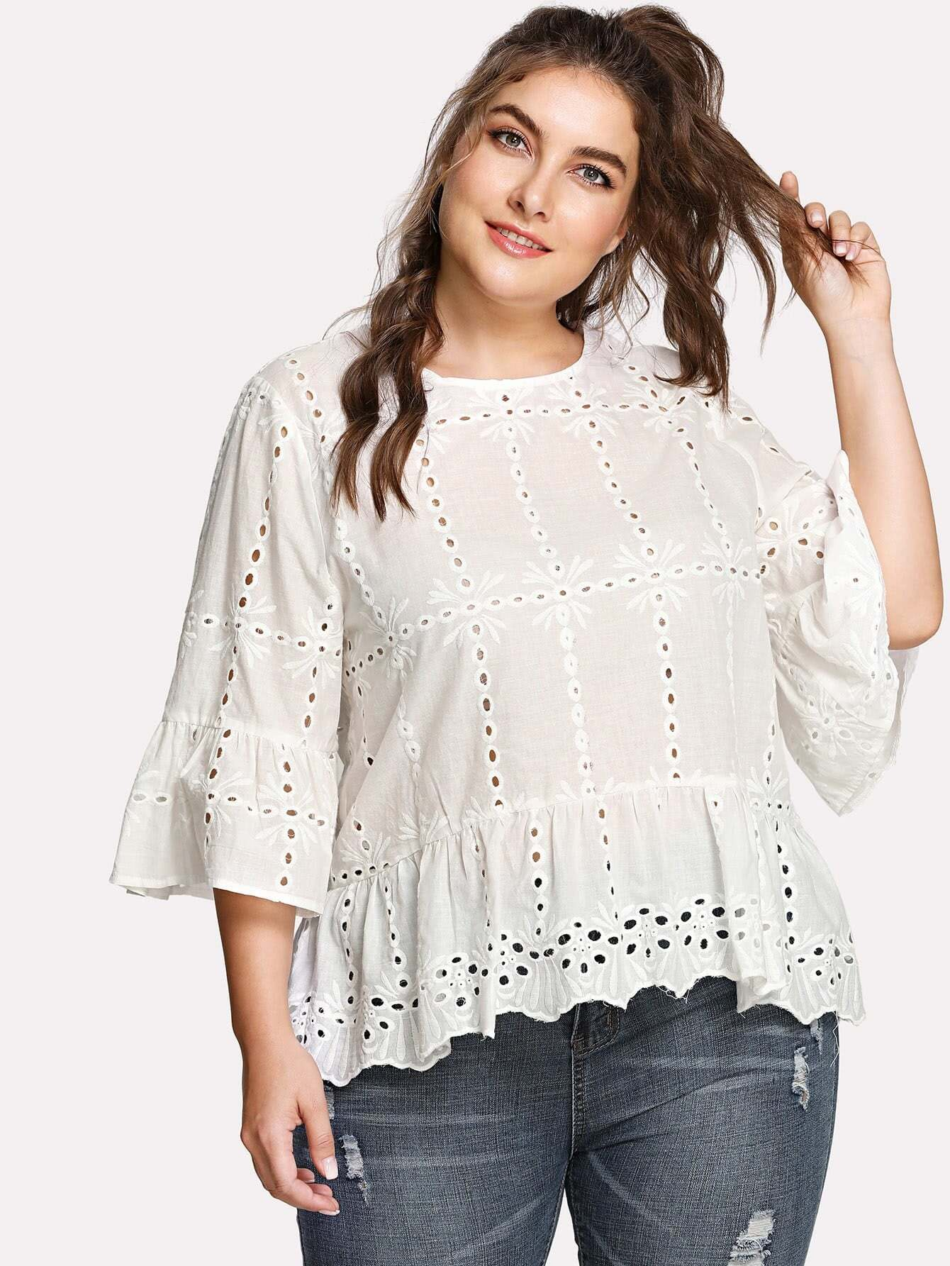 Trumpet Sleeve Eyelet Embroidered Ruffle Top flower embroidered trumpet sleeve top