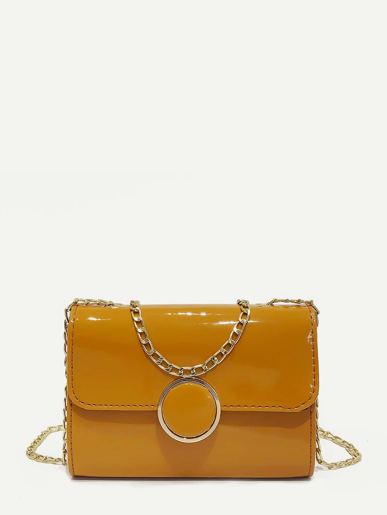 Patent Leather Flap Chain Bag