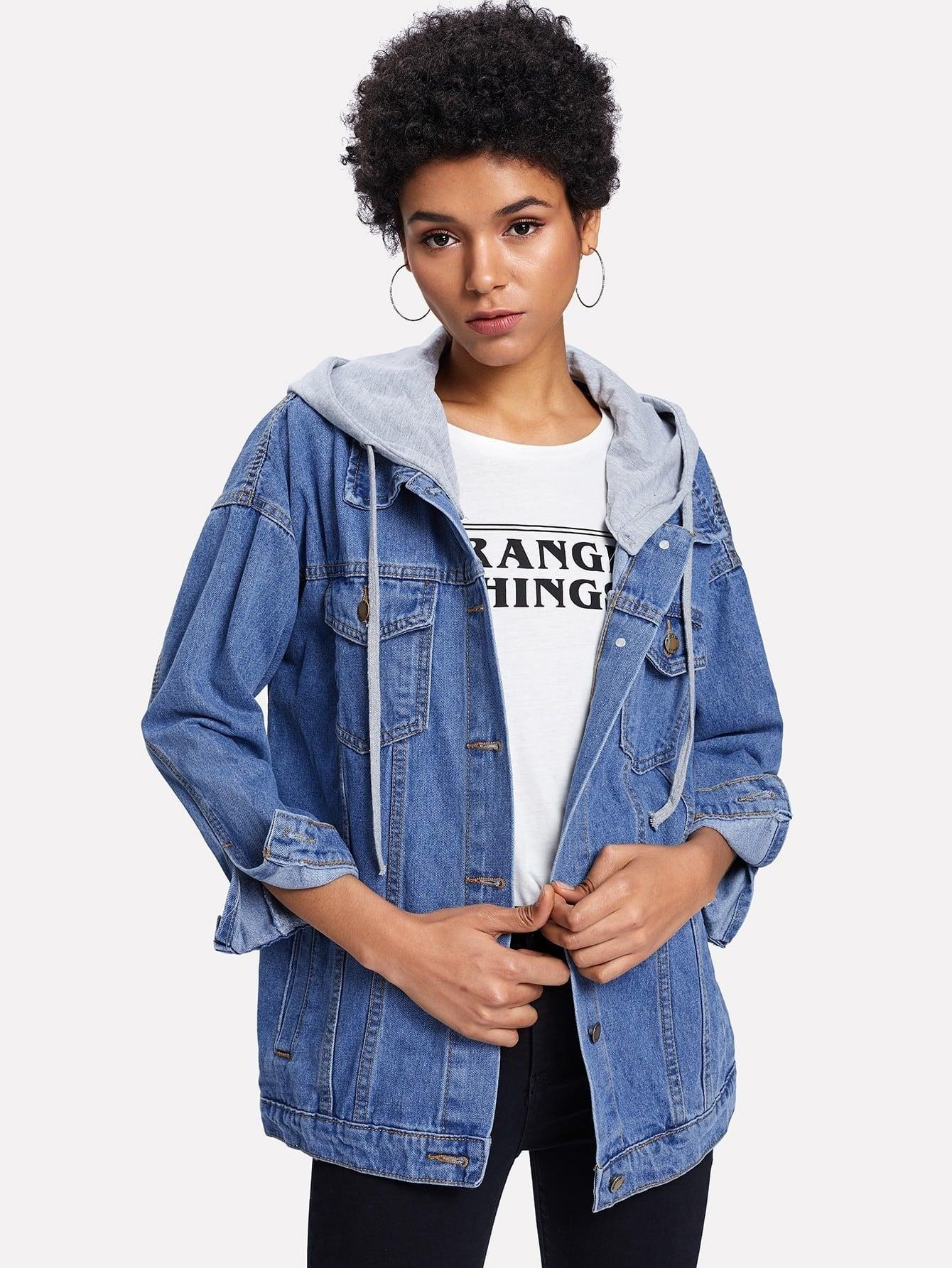 Pocket Front Drop Shoulder Detachable Hooded Denim Jacket letter print drop shoulder denim jacket
