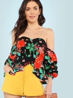 Off Shoulder Bubble Sleeve Floral Print Crop Top BLACK MULTI