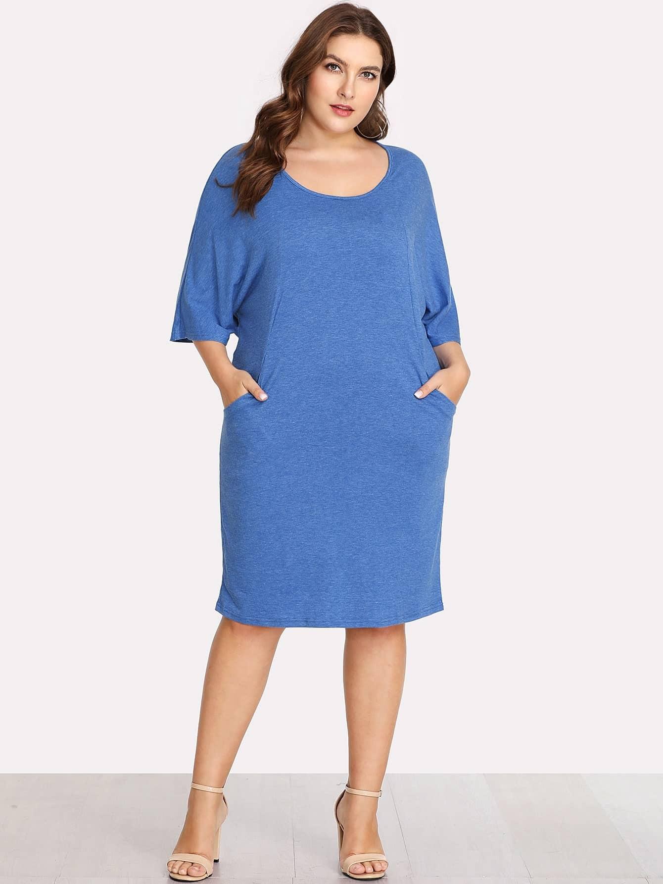 Scoop Neck Pocket Side Dress