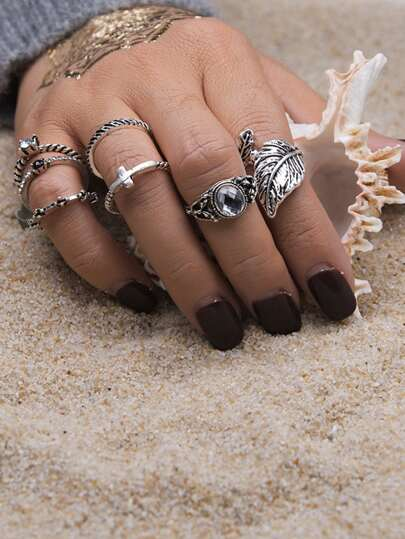 Leaf & Rhinestone Design Ring Set 7Pcs