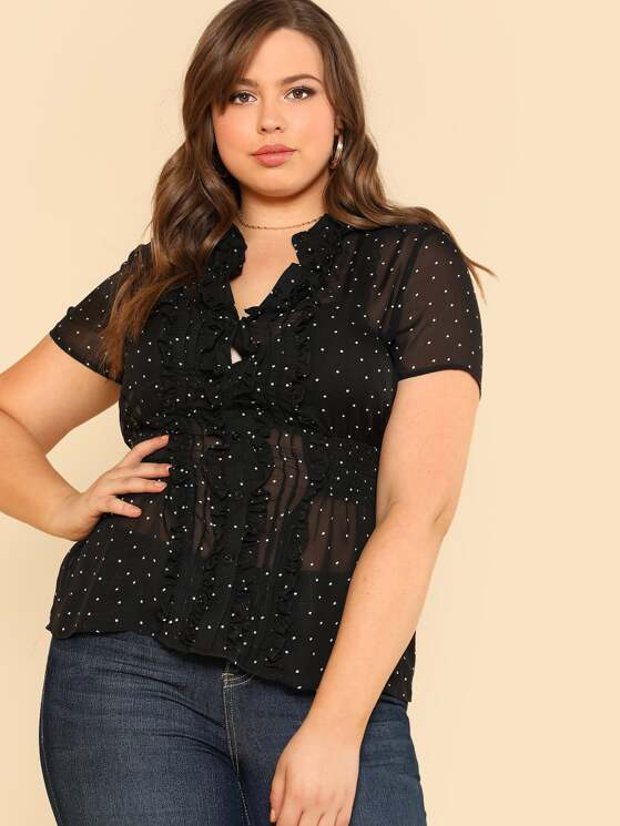 b5d34bb4d00ef5 Plus Ruffle Trim Polka Dot Sheer Shirt | MakeMeChic.COM