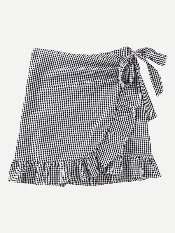 Gingham Ruffle Trim Overlap Skirt ruffle trim gingham overall