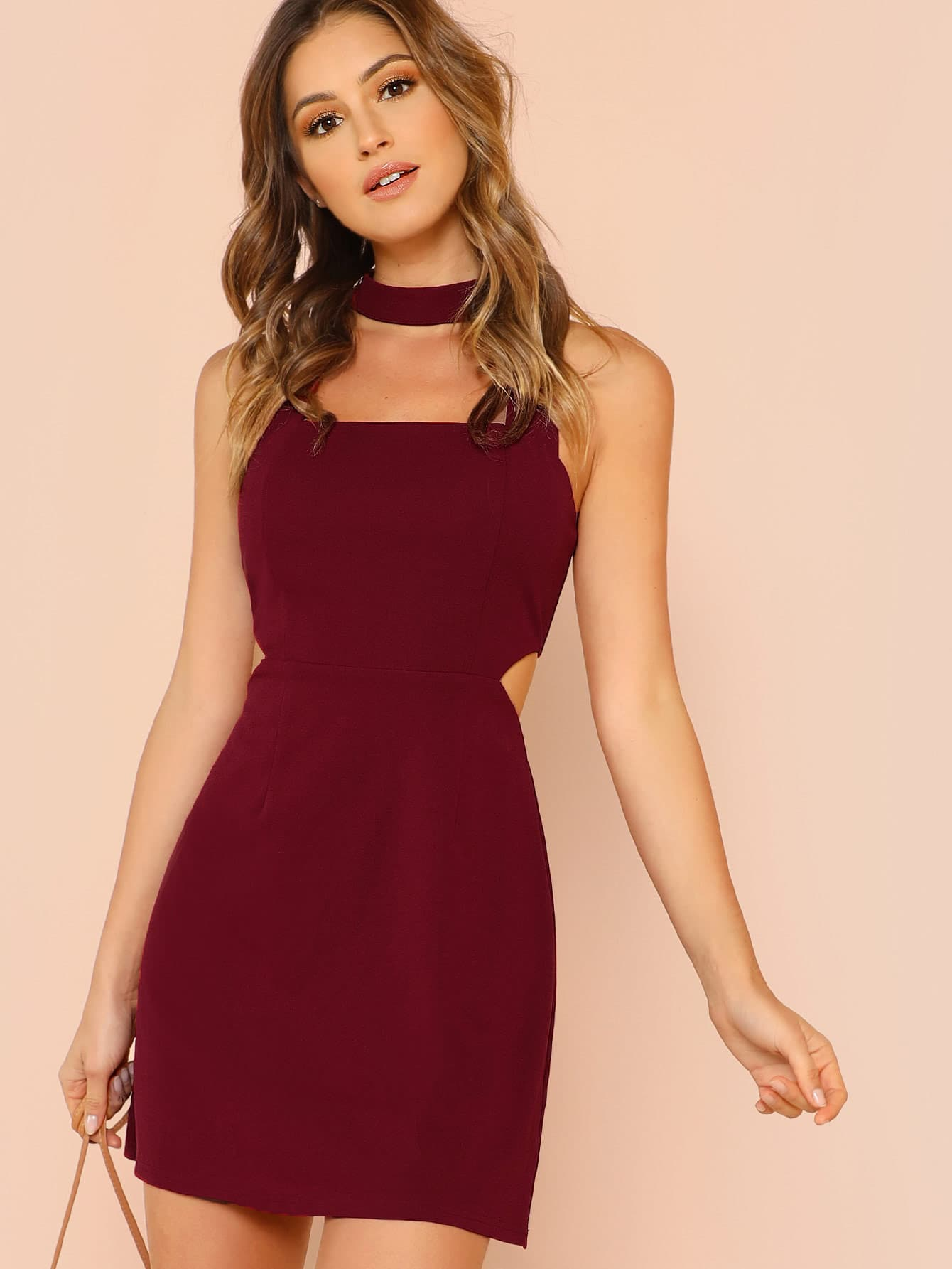 Cut Out Side Fit & Flare Dress flare sleeve cut out bowknot mini dress