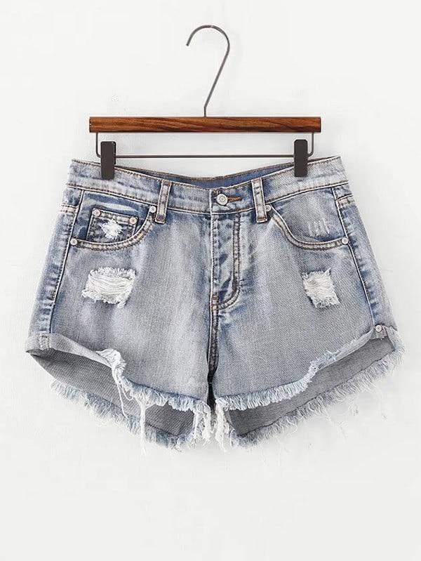 Frayed Bleached Denim Shorts