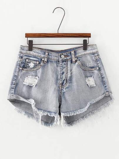 Frayed Bleached Denim Shorts