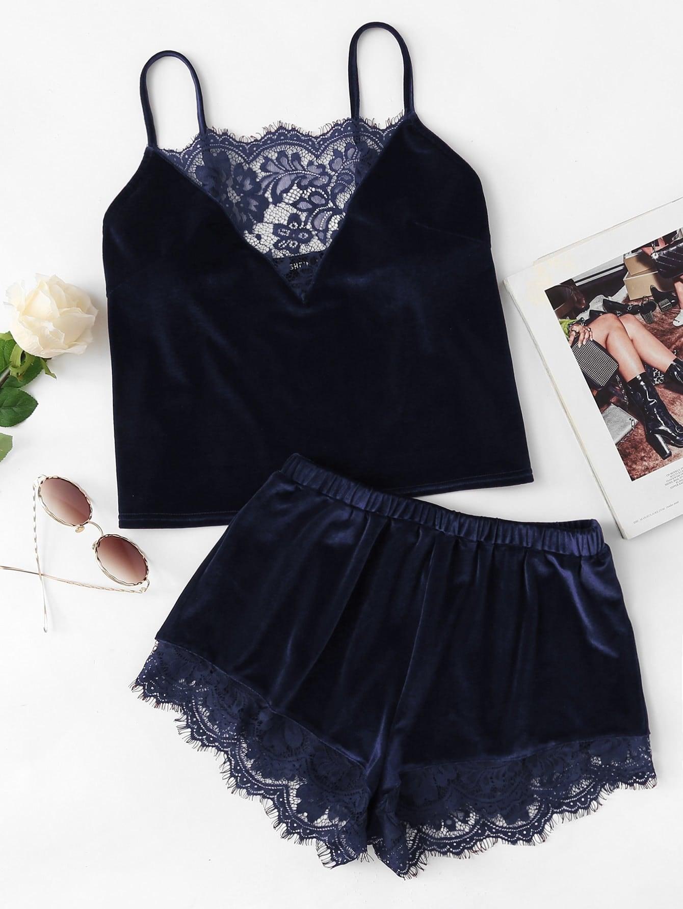 Lace Trim Velvet Cami & Shorts PJ Set lace panel cami backless pj set