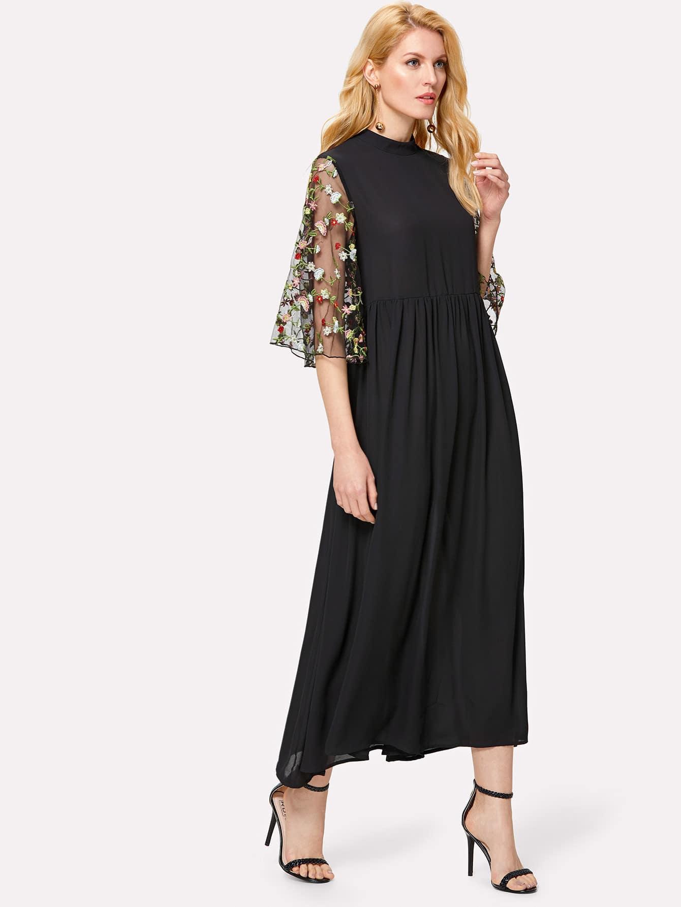 Embroidery Mesh Trumpet Sleeve Dress mesh panel sleeve dress