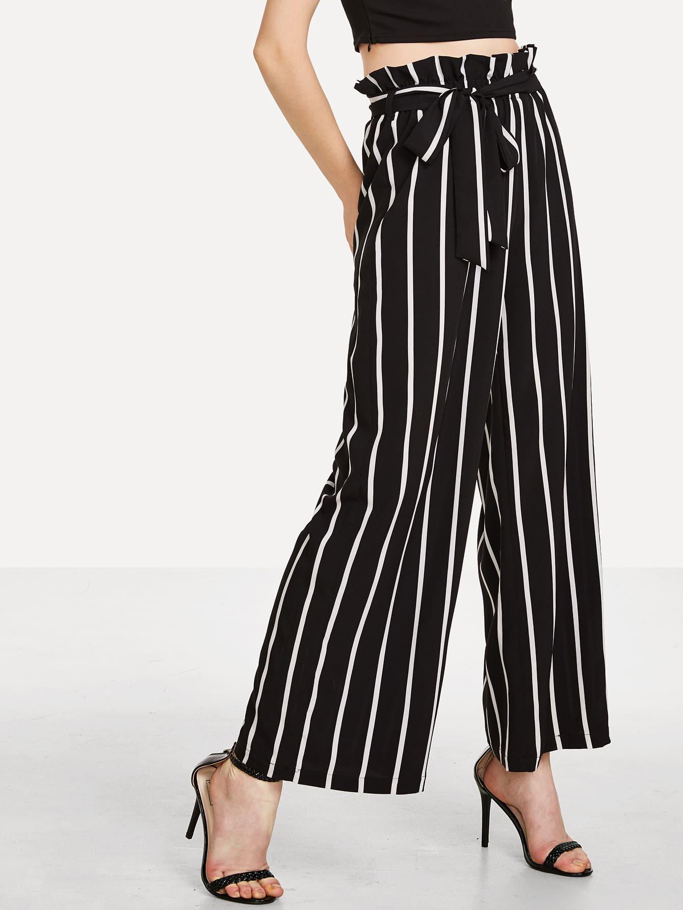 Ruffle Waist Striped Wide Leg Pants ruffle waist belted peg pants