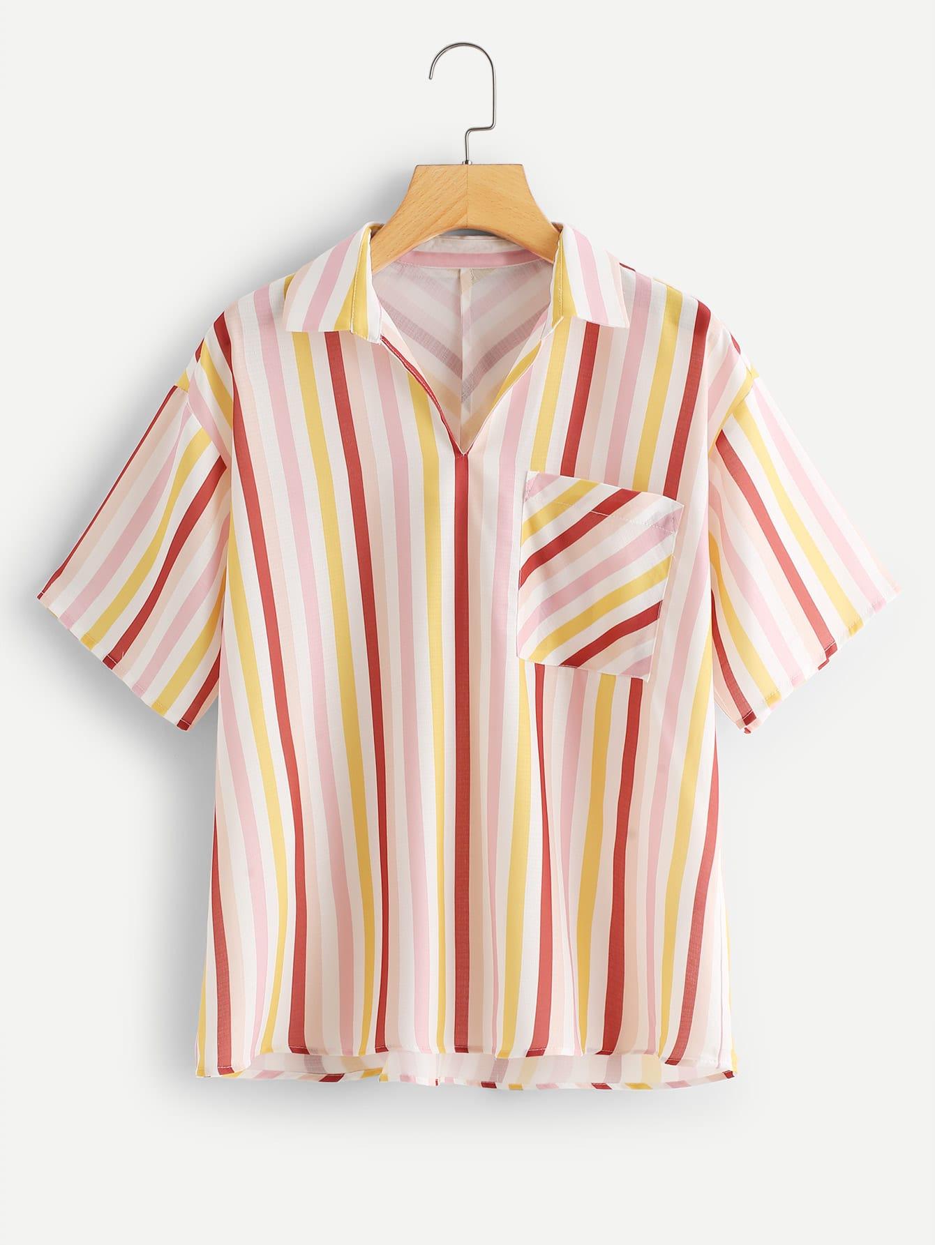 Drop Shoulder Pocket Patched Striped Blouse pocket patched striped shell shirt