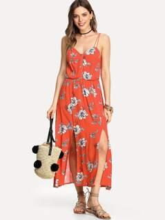 M-Slit Front Button Detail Cami Dress