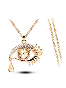 Eye Pendant Chain Necklace With Rhinestone